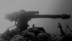 4.7 inch anti air-craft gun on the Thistlegorm taken with... by Nikki Van Veelen