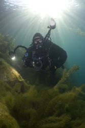Mark in the shallows at Capernwray yesterday. D200, 16mm. by Derek Haslam