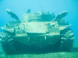 tank. i took this photo by sony cyber-shot in aqaba gulf ... by Abdel Wahab Al Ma`aita