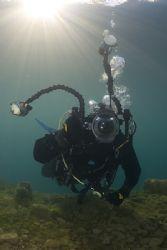 Mark at reef drop off.. Capernwray. D200, 16mm. by Derek Haslam