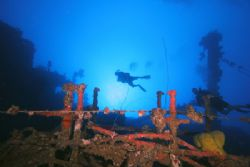 Fujisan Maru at Chuuk Lagoon by Terry Moore