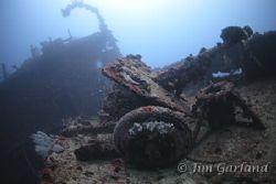 Anti-tank guns on the deck of the Nippo Maru. by Jim Garland