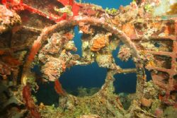 Inside the nose of Chuuk Lagoons Emily Flying Boat by Terry Moore