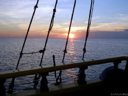 """Sunset on the pirate ship """"The Jolly Roger"""" Olympus SP-350 by Andrew Kubica"""