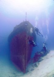 the stern of cañonero C53 near the island of Cozumel. by Kenn Bolbjerg