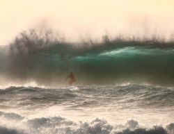 Surfing in the Evening. Surfer in deep at Banzai Pipeline. by Mathew Cook