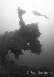 Heather and the Prop of the Heian Maru - Chuuk by Jim Garland