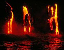 """Lava Meets Ocean"". This photo was taken off a zodiac boa... by Mathew Cook"