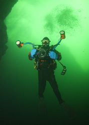 Green water. Mr H. in Vivian slate quarry, Llanberis, N.... by Mark Thomas