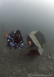 Dirk on Gypsy Moth wreck. Capernwray. D200, 10.5mm. by Mark Thomas