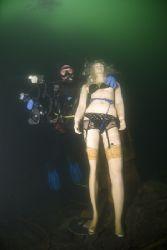 Mark's new dive buddy. Vivian quarry. D200, 10.5mm. by Derek Haslam