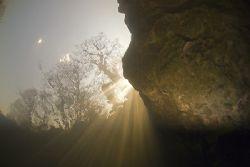 Suns rays. River Lune. Cumbria. D200, 10.5mm. by Derek Haslam