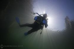 Mr T in sunburst. Vivian quarry. D200, 10.5mm. by Derek Haslam