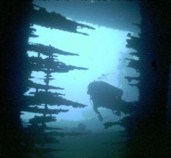 Rio de Janero Maru, Truk Lagoon, Housed Nikon F, 24mm Nik... by Rick Tegeler