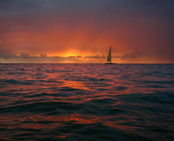 """""""Sail the Sunset"""". I paddled out on my surfboard to get a... by Mathew Cook"""