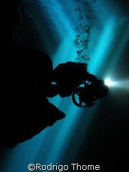 Cave Diver in Poço Azul - chapada Diamantina Brazil.  by Rodrigo Thome