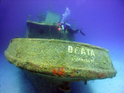 My wife swims over the stern of the newly sunk tug boat t... by Terry Moore