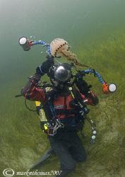 Mr H & compass jellyfish. Little Killary, Connemara. 10... by Mark Thomas
