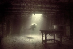 Ghost Diver of the Grove -  shot inside the Spiegel Grove... by Michael Salcito