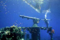 The Gunboat Wreck, Truk Lagoon; Housed Nikon F, 24mm Nikk... by Rick Tegeler