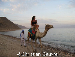 sunset in sinai, looking at saoudia arabia by Christian Cauwe