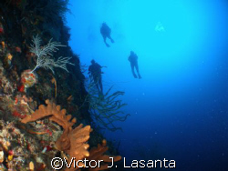 deep blue  view of john , rodney and roxanna  close to fa... by Victor J. Lasanta