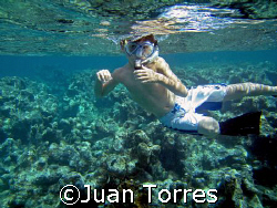 My little son Marco, future scubadiver, snorkeling in Cay... by Juan Torres