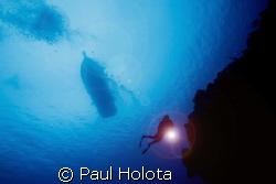 Diver descends. Cozumel. Canon XTi 10-22mm. by Paul Holota