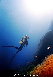Mediterranean Sea Pantelleria Island Vertical No Strob... by Cesare Lombardo
