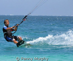 My 12 year old giving me grey hair, learning to kite boar... by Penny Murphy
