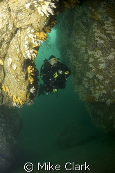 Diver in cave, Eyemouth, Scotland. Nikon D70, 10.5mm len... by Mike Clark