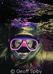 Jacky Spiby aged 5 years, night snorkel in the Maldives by Geoff Spiby