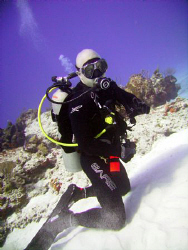 Pic of me taken at Columbia Reef in Cozumel in Dec 2007 b... by Robert Waffle