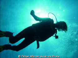 sun and diver taked with dsc-600 sea-life by Felipe Alfonso Gutierrez Hirata