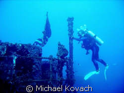 Barbara Winn on the wreck of the Duane out of Key Largo by Michael Kovach