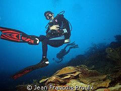 my lovelly girlfriend in Bonaire water going back to shor... by Jean Francois Proulx