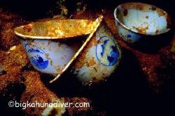 China tea cups aboard the unkai maru #6-Nikonos v 35mm cl... by Mike Ellis