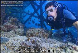 Ben meets a Crocodile Fish under the Kapalai Resort Jetty... by Richard Swann