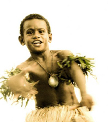 Fiji boy dancing by Andy Lerner