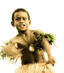 Fiji boy dancing by Andy Lerner