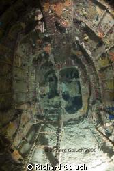 Inside fuselage of Emily Flying Boat-Truk Lagoon by Richard Goluch