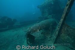 Torpedo laying  down on deck of Thistlegorm. by Richard Goluch