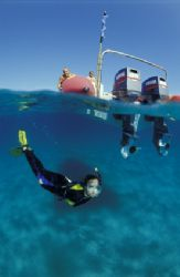 snorkelling in paindane , central mozambique under the ri... by Andrew Woodburn