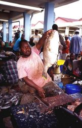 this fish carver was expertly portioning all sorts of fis... by Andrew Woodburn