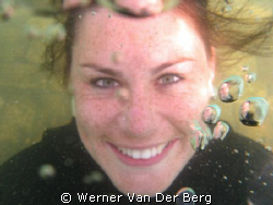 My girlfriend at Miracle Waters, just add water!! by Werner Van Der Berg