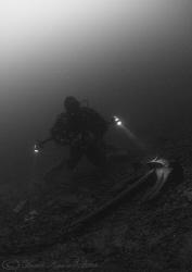 Mark with anchor.A dark Stoney cove. D200, 10.5mm. by Derek Haslam