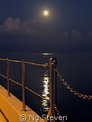 The setting moon before the break of dawn. Canon G5 by Ng Steven