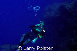 Dive Master signal , asend to safety stop. by Larry Polster