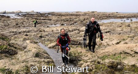 Coming ashore after completing a dive in Sagami Bay at Ha... by Bill Stewart