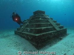Sandy exploring a Maya Piramid, Cozumel by Abimael Márquez